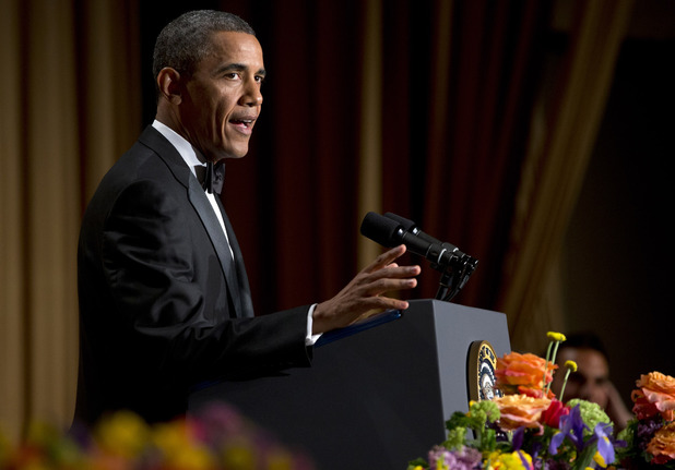 President Barack Obama speaks during the White House Correspondents' Association Dinner