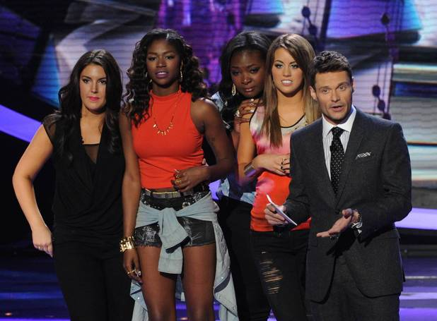 Amber Holcomb, Angie Miller, Kree Harrison, Candice Glover with Ryan Seacrest on 'American Idol'