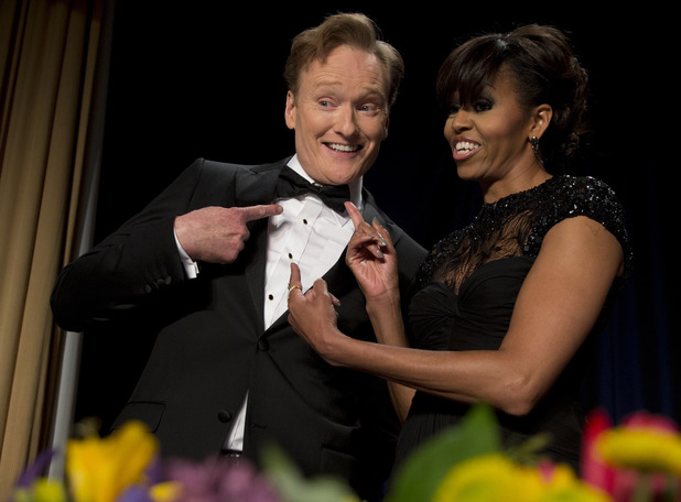 First lady Michelle Obama and late-night television host and comedian Conan O'Brien.