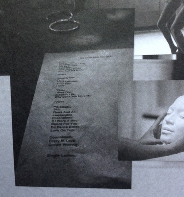 Beyoncé's original set list in 'Mrs Carter Show' tour programme.
