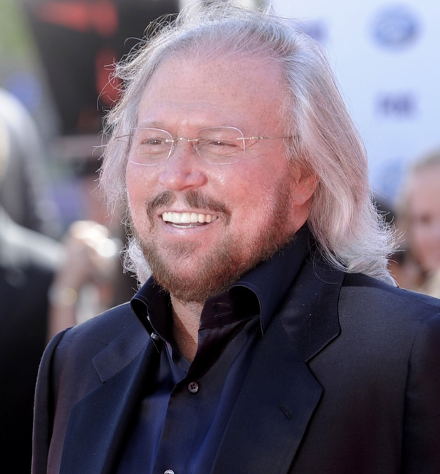 "Barry Gibb arrives at the ""American Idol"" finale."