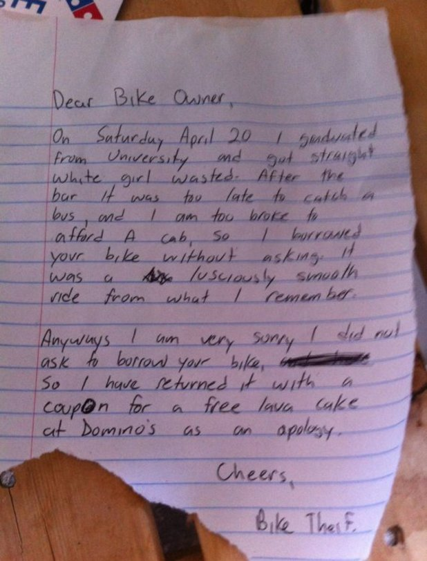 The apology note given to the owner of a bike who had his bike stolen