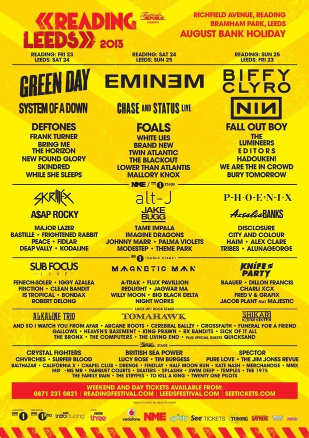 Reading and Leeds Festival 2013 lineup
