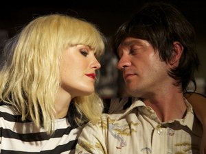Malin Akerman, Robert Zincone on the set of 'CBGB'
