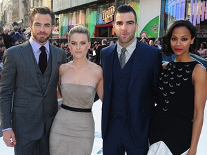Chris Pine, Alice Eve, Zachary Quinto and Zoe Saldana arriving for the premiere of Star Trek Into Darkness at the Empire Leicester Square, London.