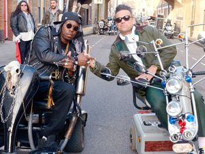 Dizzee Rascal and Robbie Williams on the set Dizzee Rascal's 'Goin Crazy' music video