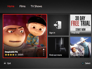 Screenshot of LoveFilm running on PS3
