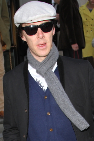 Benedict Cumberbatch arrives at the Corinthian Hotel.