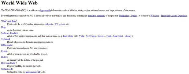 A screenshot of the world's first website