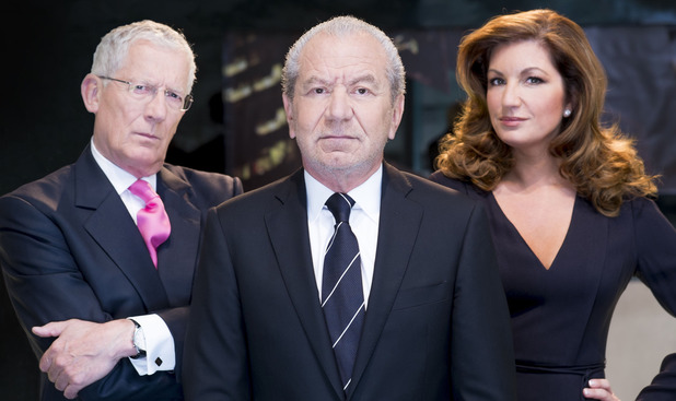 Alan Sugar, Karren Brady, Nick Hewer in 'The Apprentice' Series 9.