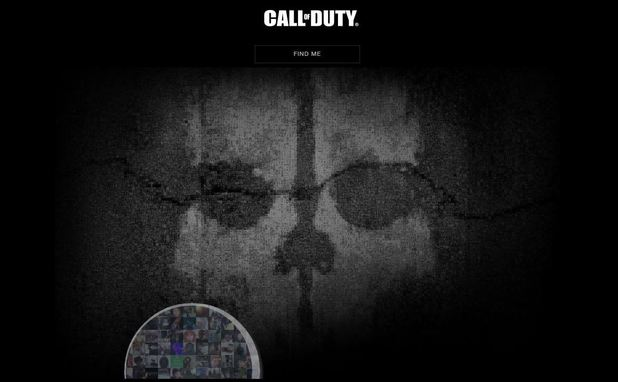 A screenshot of the 'Call of Duty: Ghosts' teaser site
