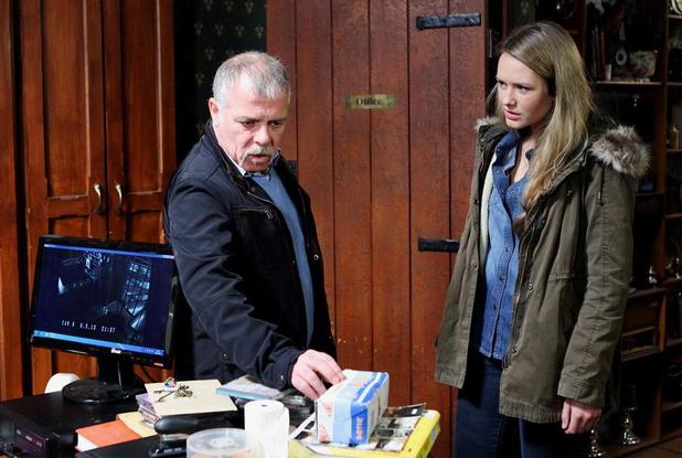 Luke is almost caught by Neasa looking at the CCTV footage.