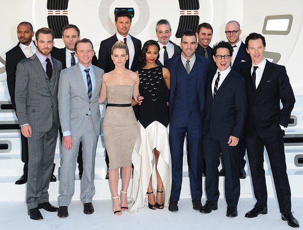 Noel Clarke, Bryan Burk, Karl Urban, Alex Wurtzman, Roberto Orci and Damon Lindelof, (Front row) Chris Pine, Simon Pegg, Alice Eve, Zoe Saldana, Zachary Quinto, JJ Abrams and Benedict Cumberbatch arriving for the premiere of Star Trek Into Darkness at the Empire Leicester Square, London.