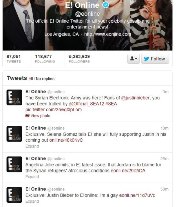 E! Online Twitter feed hacked