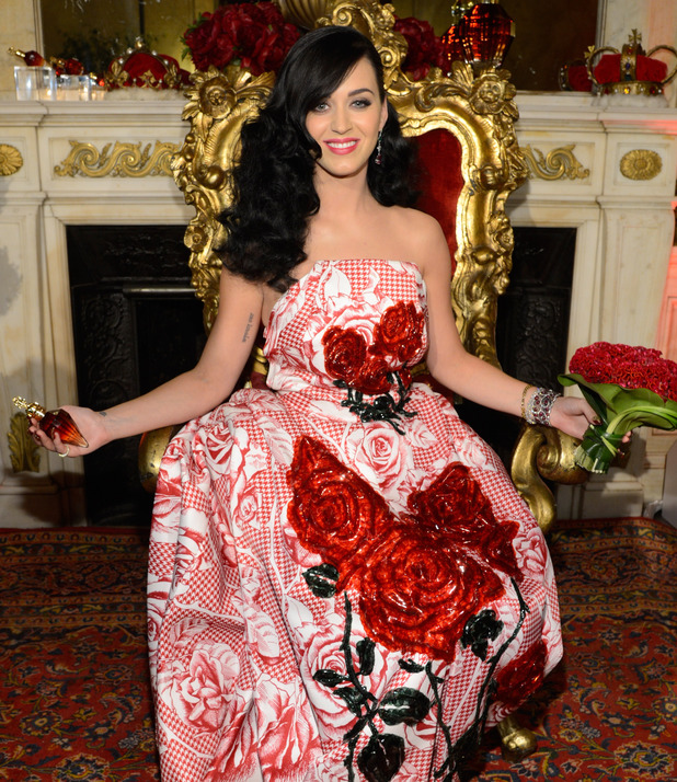 Katy Perry attends her fragrance sneak preview at the James B Duke Mansion on May 2,