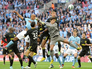 2013 FA Cup Final: Manchester City v Wigan Athletic - Manchester City's Vincent Kompany misses a headed chance on goal.