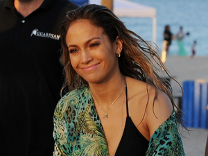 Jennifer Lopez filming a TV commercial at South Point Park, with Casper Smart