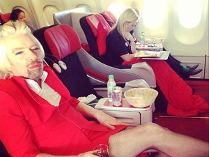 Sir Richard Branson joins the cabin crew on AirAsia