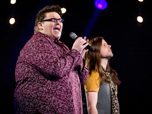 Ash Morgan & Adam Barron during their battle on episode & of 'The Voice UK'