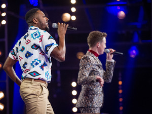 Matt Henry & Jordan Lee Davies during their battle on episode & of 'The Voice UK'