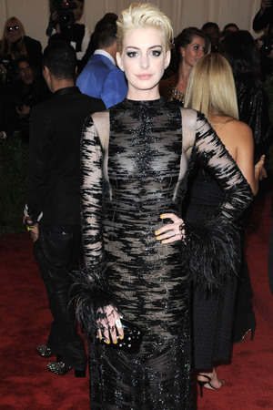 Anne Hathaway, blonde hair, platinum, sheer dress, Valentino, vintage, sheer dress, Met Ball 2013, Punk