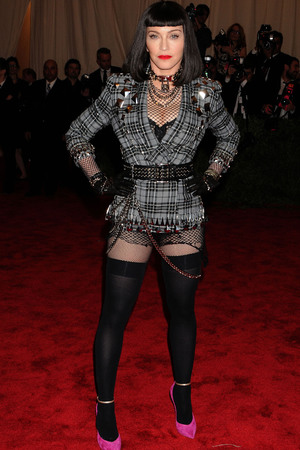 Madonna, givenchy, fishnets, Met Ball 2013, Punk, black wig, Punk: Chaos To Couture exhibition, Metropolitan Museum of Art, New York