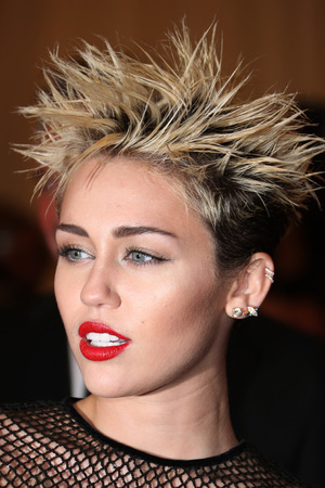 Miley Cyrus, spiked blonde hair, Met Ball 2013, Costume Institute Gala Benefit celebrating the Punk: Chaos To Couture exhibition, Metropolitan Museum of Art