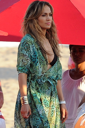 Jennifer Lopez filming a TV commercial at South Point Park
