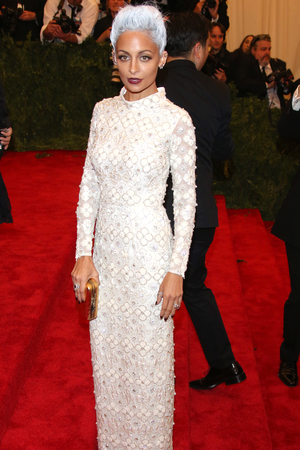 Nicole Richie, Met Ball 2013, silver hair, topshop dress, Costume Institute Gala Benefit celebrating the Punk: Chaos To Couture exhibition, Metropolitan Museum of Art, New York