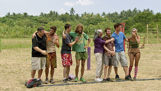 Eddie, Erik, John and Sherri with their family during episode 13 of 'Survivor: Caramoan'