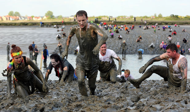 Competitors at the annual Maldon Mud race in Essex - May 2013