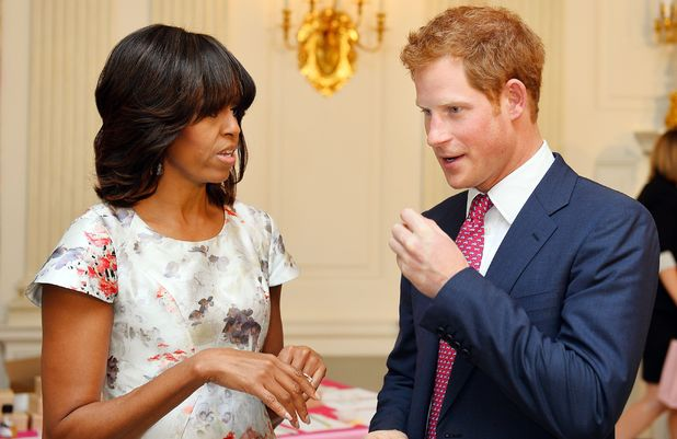 Prince Harry with the First Lady Michelle Obama during a visit to the White House