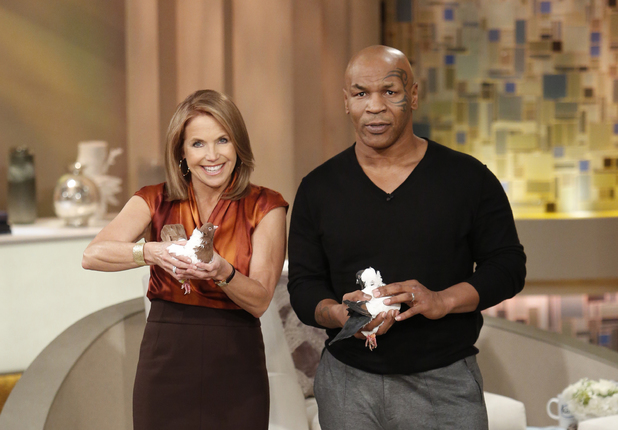 Mike Tyson brings his racing pigeons to Katie Couric's talkshow 'Katie'