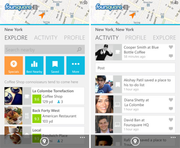 Foursquare app for Windows Phone 8