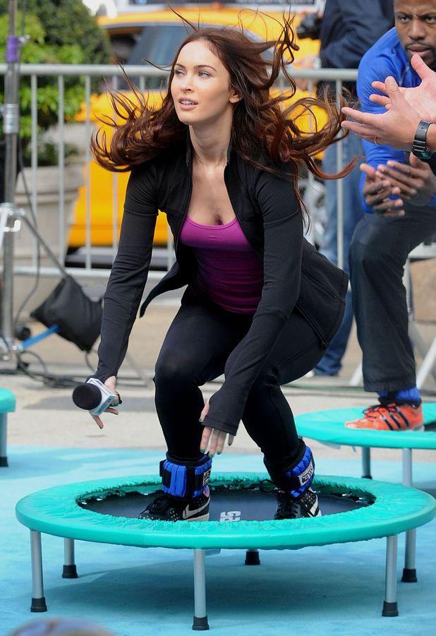 Megan Fox, 'Teenage Mutant Ninja Turtles' on set filming, New York, trampoline,