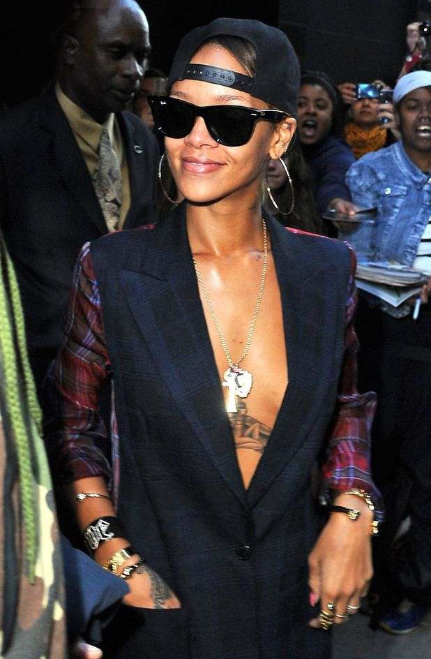 Rihanna, New York, blazer, cap, chest, cleavage