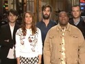 Kristen Wiig promotes this weekend's SNL episode with Vampire Weekend.