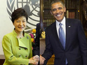 Fake photo sees Obama and South Korean president 'shaking hands'.