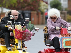 Harry Hill and Julie Walters film scenes for the movie &#39;Whatever Happened to Harry Hill?&#39;