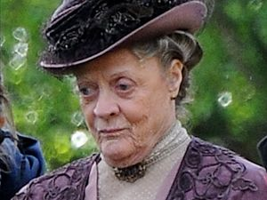 Dame Maggie Smith on the set of 'Downton Abbey' in Bampton, Oxfordshire