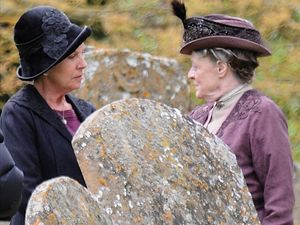 Penelope Wilton and Dame Maggie Smith on the set of &#39;Downton Abbey&#39; in Bampton, Oxfordshire