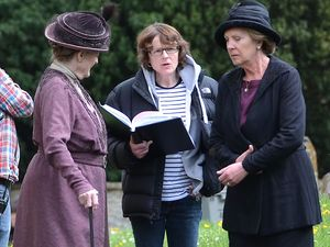 Penelope Wilton and Dame Maggie Smith on the set of 'Downton Abbey' in Bampton, Oxfordshire