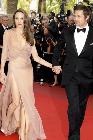 Angelina Jolie, Brad Pitt, Cannes Film Festival 2009, Inglourious Basterds premeire, Versace dress