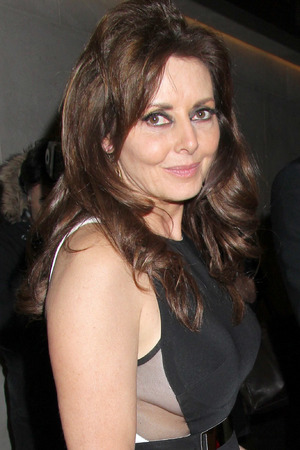Carol Vorderman, Stella McCartney optical illusion dress, side boob, The Inspiration Awards at the Intercontinental Hotel, London