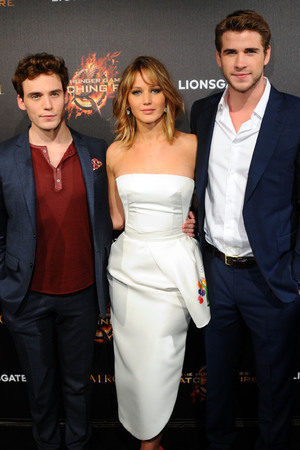 Sam Claflin,Jennifer Lawrence and Liam Hemsworth.