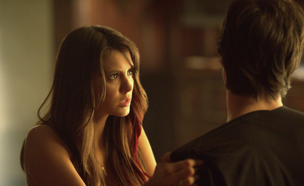 Nina Dobrev as Elena and Ian Somerhalder as Damon in The Vampire Diaries S04E23: 'Graduation'