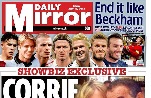 David Beckham front covers: The Daily Mirror