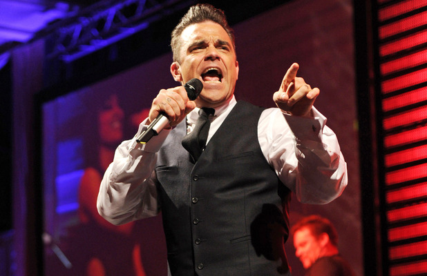 Robbie Williams performing at the Sony Radio Academy Awards