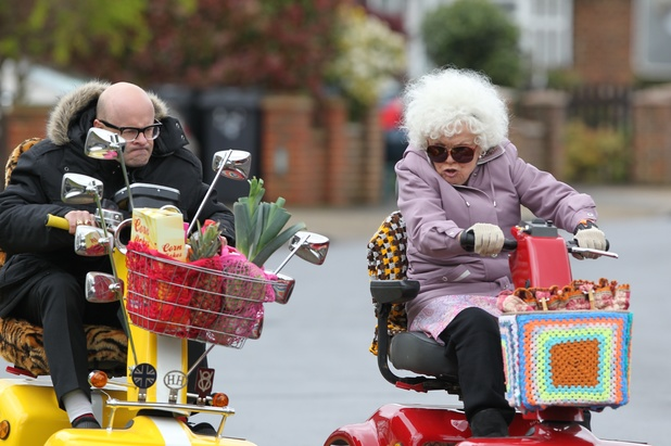 Harry Hill and Julie Walters film scenes for the movie 'Whatever Happened to Harry Hill?'