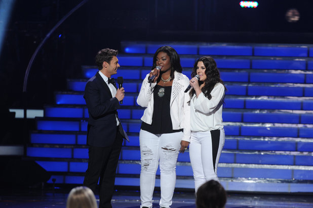 Ryan Seacrest with Kree Harrison and Candice Glover